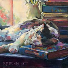 Just Landscape Animal Floral Garden Still Life Paintings by Louisiana Artist Karen Mathison Schmidt: Dreaming in Color III: Impressions original oil painting of a library cat sleeping with books • contemporary impressionist cat illustration art • professional pet portrait by Louisiana artist KMSchmidt • oil painting technique