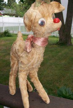 "Vintage old RUDOLPH RED NOSED REINDEER ANIMAL TOY PLUSH TOY, 14"" | eBay"