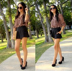 leopard top, black shorts Spring Shorts, Leopard Top, Black Shorts, Short Dresses, Classy, My Style, Sexy, Outfits, Clothes