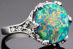 estate, Tiffany's, Tiffany & Co, vintage, crown, opal engagement ring, diamonds, opals Stunning!! My Birth Stone..hint hint Santa ;)