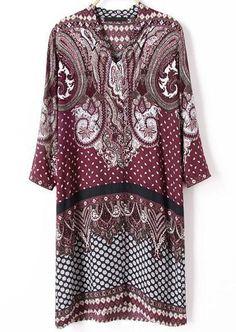 Red Long Sleeve Vintage Cashews Print Dress 19.33