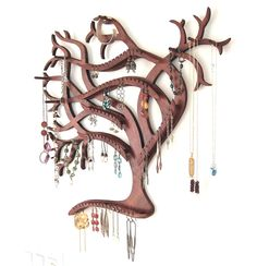 Semi-Customizable Sweeping Tree Wall Mounted Jewelry Display. What an amazing piece of work!