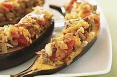 Beef-filled ripe Plantains/Canoas