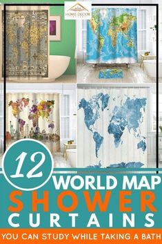 12 World Map Shower Curtains You Can Study While Taking A Bath. Article by HomeDecorBliss.com #HomeDecorBliss #HDB #home #decor