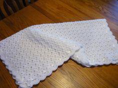 Crochet Baby Blanket Shell Stitch Christening by pegsyarncreations