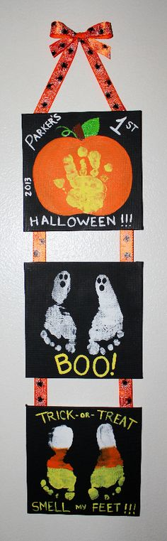 """Mommy & Me"" Halloween project my son Parker and I made of his hand and feet prints. Great keepsake for years to come to remember baby's 1st Halloween and how small they once were. So fun!"