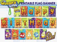 Grossery Gang Themed Flag Banner Digital File - Includes Twenty 5x8 flags on 10 pages **DISCLAIMER: All copyrights and trademarks of the character images used belong to their respective owners and are not being sold. This item is not a licensed product and OhWowDesign does not claim