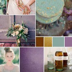 wedding color combination: blue, sea green, purple/amethyst, gold