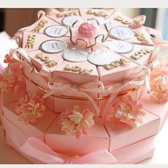 roze kaart papieren bruiloft gunst dozen met linten en bloemen (set van 20) – EUR € 14.68