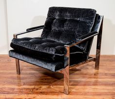 1stdibs | Mid Century Pair of Milo Baughman Chairs in Charcoal Mohair