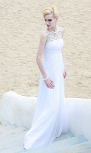 Tencel White Pleated Lace Sheath Prom / Evening Dress