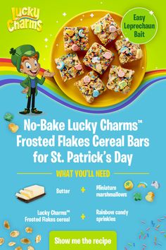 Patrick's Day with a batch of No-Bake Lucky Charms Frosted Flakes Bars. So simple to make and so tasty too - even Lucky can't resist. Tap the Pin for the recipe. Cereal Recipes, Dessert Recipes, Desserts, Lucky Charms Cereal, Cereal Bars, Holiday Snacks, Yummy Food, Tasty, Postres