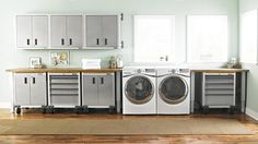 The garage is often considered storage space, but it can also serve as well-organized garage laundry rooms. There are several ways to create garage laundry rooms. Garage Laundry Rooms, Garage Room, Modern Laundry Rooms, Basement Laundry, Bathroom Laundry, Garage Wall Cabinets, Grey Cabinets, Cabinet Doors