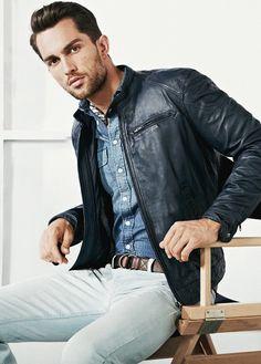 look: black leather jacket + denim shirt + white chinos