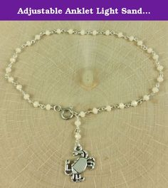 Adjustable Anklet Light Sand Cream Crystal Beaded Chain in Sterling Silver with Crab Charm Dangle. A handmade anklet made of hand linked light sand crystal beaded chain in silver with a small crab charm dangle. This anklet is adjustable to a maximum size of 10 1/4 inches. Round spring style clasp. Charm size is 18mm, crystals in the chain are 3mm rounds. Very lightweight & stylish! Nickel, lead, cadmium free. Please send me a message if you have any questions. Thanks, Elizabeth.