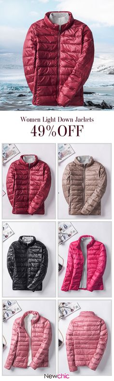 Casual Brief Solid Color Long Sleeve Women Light Down Jackets