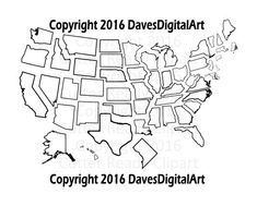 Complete set of 50 US states Thick lines ready by DavesDigitalArt