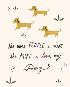 Dog, dog quote, Love dog, Wall art, Illustration by Neiko Ng