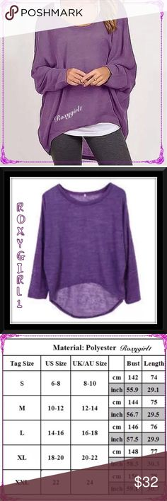 Casual Oversized Hi-Lo Purple Long Sleeve Top Casual Oversized Hi-Lo Purple Long Sleeve Top Crew Neck  Casual  Fit's True to Size ~ Please See Measurement Chart Only taken out of packaging for photos and inspection ❌NO TRADE❌ Boutique Tops