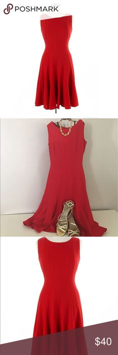 Ellen Tracy Sleeveless Red A-line dress 💋LADY IN RED 💋Ellen Tracy Sleeveless Pleated A-Line Dress - Timeless and chic, this classic fit-and-flare dress is perfect for the office and transitions seamlessly. Ellen Tracy Dresses