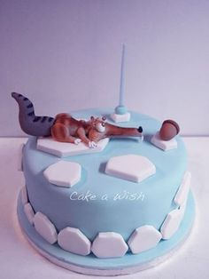 Scrat ice age cake Más Ice Age Birthday Party, 6th Birthday Cakes, Unique Cakes, Creative Cakes, Beautiful Cakes, Amazing Cakes, Ice Age Cake, Cakes For Boys, Sweet Cakes