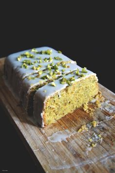 Lemon-Pistachio Polenta Cake with Lemon Icing | Thom & Aimee