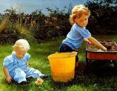 Donna Green painting - kids on the lawn Nostalgic Art, Nostalgic Images, Painting For Kids, Art For Kids, Art Children, Green Paintings, Precious Children, Green Art, Illustrator Tutorials