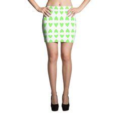 Green Hearts Mini Skirt
