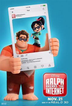 Ralph Vs Internet: Ralph Breaks The Internet: Wreck-It Ralph 2 (Detona Ralph 2 – Ralph Quebra a Internet) - 2018 Disney Pixar, Disney Films, Disney Animation, Disney Art, Disney Movie Posters, Disney Animated Movies, Warrior Princess, Ralph Disney, Vanellope Y Ralph
