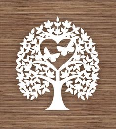 Butterfly, Leaf and Heart Tree PDF SVG (Commercial Use) Instant Download Digital Papercut Template
