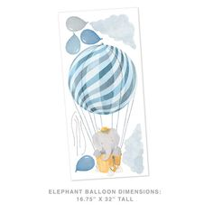 Small Elephant in Basket  Fabric Wall Decal  Nursery