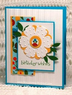 Multi-layered blue yellow green flower square, patterns, textures, embossing, leaves, birthday card