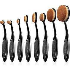 EmaxDesign Makeup Brushes 8 Pieces Oval Makeup Brush Set Professional Foundation Concealer Blending Blush Liquid Powder Cream Cosmetics Brushes, Toothbrush Curve Makeup Tools For Face and Eyes *** Click image for more details.