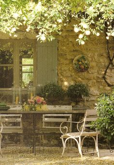 Provence courtyards...bottle of wine, pool in the backyard. Heat, a lot if heat! :)
