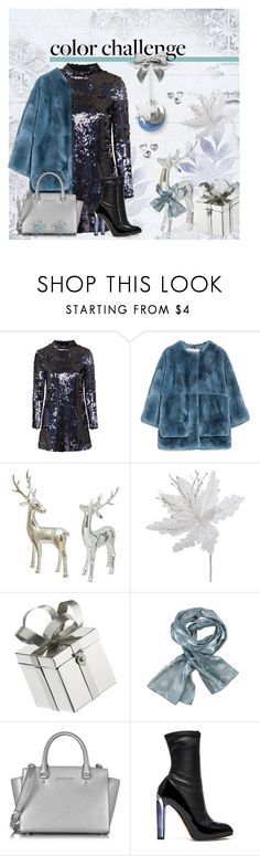 """""""Blue and Silver"""" by ana3blue ❤ liked on Polyvore featuring Topshop, Marni, Swarovski, Michael Kors, Alexander McQueen and Bling Jewelry"""
