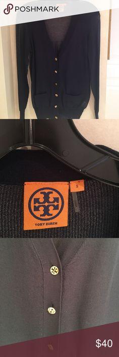 Tory Burch navy silk cardigan Tory Burch sheer navy silk cardigan. Worn once, like new condition. Tory Burch Sweaters Cardigans