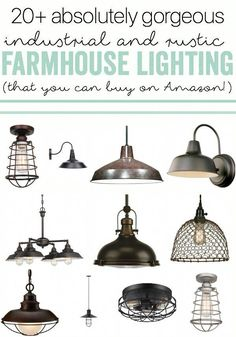 Industrial Farmhouse Lighting – Indoor and Outdoor options that you can buy from… - Modern Industrial Interior Design, Industrial Interiors, Industrial House, Industrial Lighting, Rustic Industrial, Home Lighting, Rustic Chic, Industrial Bedroom, Industrial Furniture