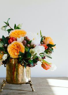 One of Our Favorite Peonies Arrangements - Gorgeous DIY floral arrangement in a vintage ice bucket - Rosen Arrangements, Peony Arrangement, Beautiful Flower Arrangements, Floral Arrangements, Fresh Flowers, Beautiful Flowers, Fall Flowers, Exotic Flowers, Purple Flowers