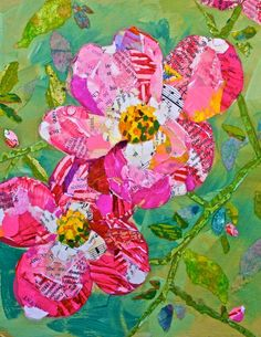 """Hilaire Nelson, Fine Art Collage artist who creates """"Paper Paintings"""" from torn bits of hand-made, hand-painted and found papers. Paper Collage Art, Flower Collage, Flower Art, Paper Art, Magazine Collage, Magazine Art, Collages, Art Et Illustration, Painting Edges"""