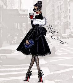 #Hayden Williams Fashion Illustrations #Style in the City by Hayden Williams: 'Coffee to Go'