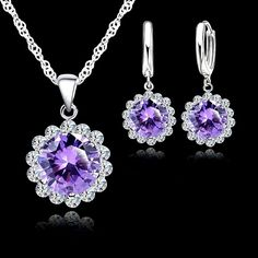 Silver Plated Purple And White Cubic Zirconia Necklace And Earrings Set | eBay