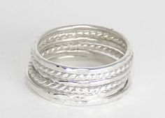 sterling silver stacking rings, hammered and twist
