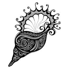 Vector Abstract Sea Shell Patterned Design Royalty Free Cliparts, Vectors, And Stock Illustration. Doodle Art Drawing, Zentangle Drawings, Mandala Drawing, Zentangle Patterns, Mandala Art, Art Drawings, Zentangles, Abstract Pencil Drawings, Tattoo Liebe