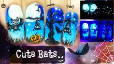 Halloween Cute Bats ⎮ Glow in the Dark Freehand Nail Art Video Tutorial