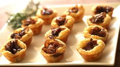 Goat Cheese Tartelettes (you could even add fig jam)-Sprinkle with chopped parsley and serve with a balsamic glaze walnut salad