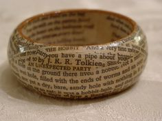 """The Hobbit Wooden Bangle Bracelet from Repurposed Book """"An Unexpected Party"""". $12.75, via Etsy."""