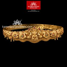 Stunning gold vaddanam collections by Kameswari Jewellers. Shop online from South India's finest traditional jewellers. Antique Jewellery Designs, Gold Earrings Designs, Gold Jewellery Design, Gold Jewelry, Gold Necklace, Bridal Jewelry, Baby Jewelry, Jewellery Earrings, India Jewelry
