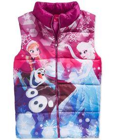 Frozen Little Girls' Anna, Elsa & Olaf Puffer Vest