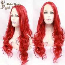 Red Lace Front Wig Cosplay Harajuku Cheap Synthetic Wig Long Big Curly Heat…