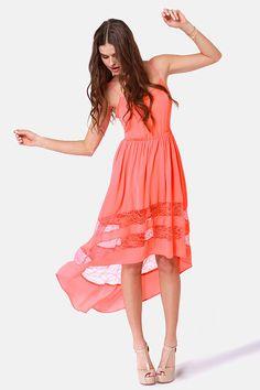 Pretty Coral Dress - Lace Dress - High-Low Dress - $59.00 LuLu's